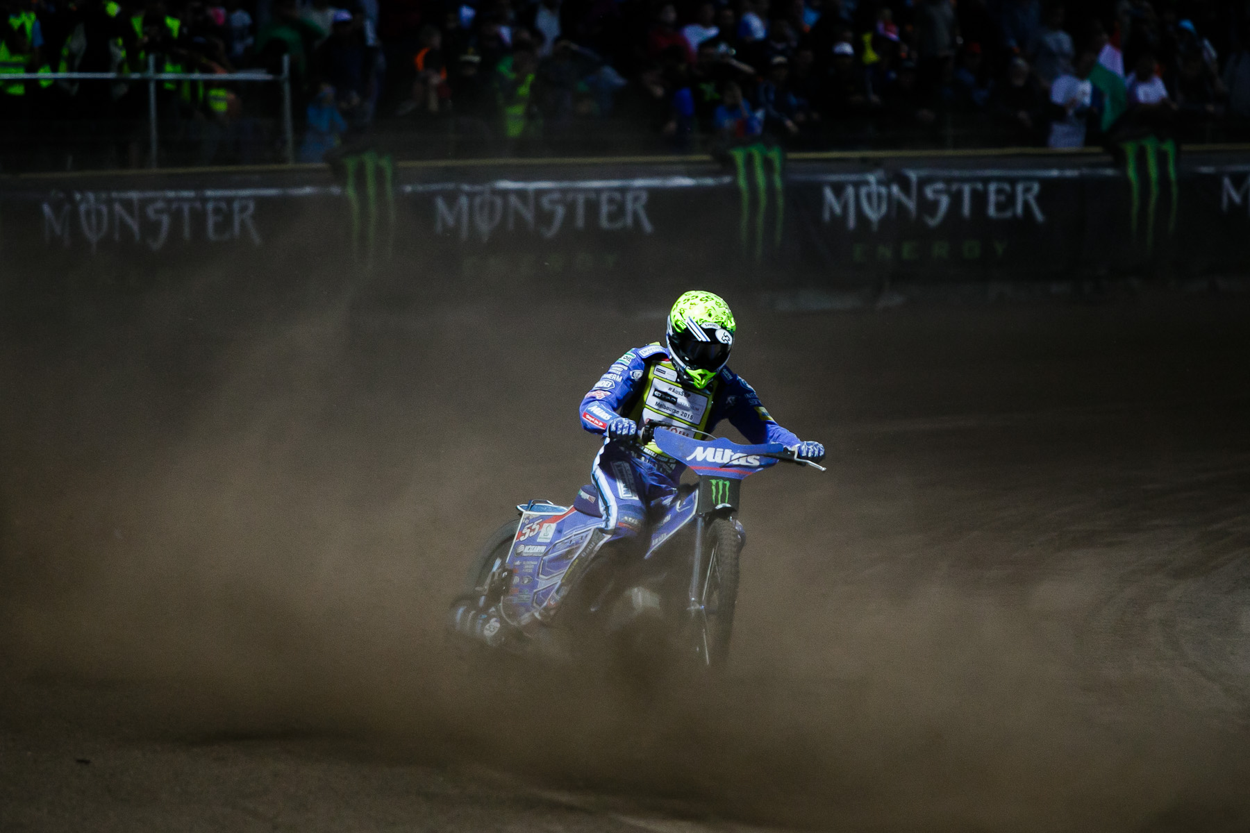 Matej Zagar of Slovenia competes in the Mitas Slovenian FIM Speedway Grand Prix at Matija Gubec Stadium in Krsko, Slovenia, Sep. 12, 2015.
