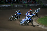 Matej Zagar of Slovenia, Andreas Jonsson of Sweden and Tomas H. Jonasson of Sweden compete in the Mitas Slovenian FIM Speedway Grand Prix at Matija Gubec Stadium in Krsko, Slovenia, Sep. 12, 2015.