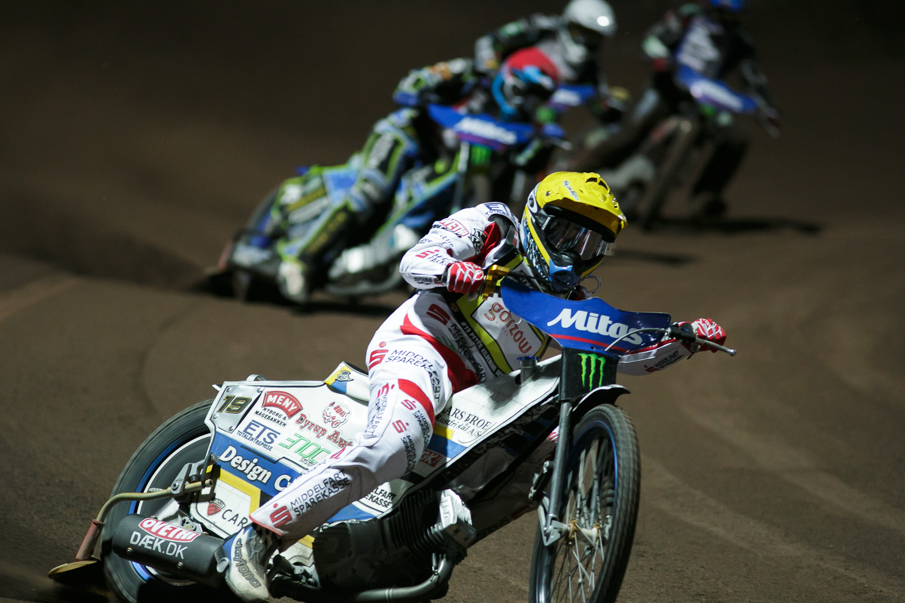 Peter Kildemand of Denmark competes in the Mitas Slovenian FIM Speedway Grand Prix at Matija Gubec Stadium in Krsko, Slovenia, Sep. 12, 2015.