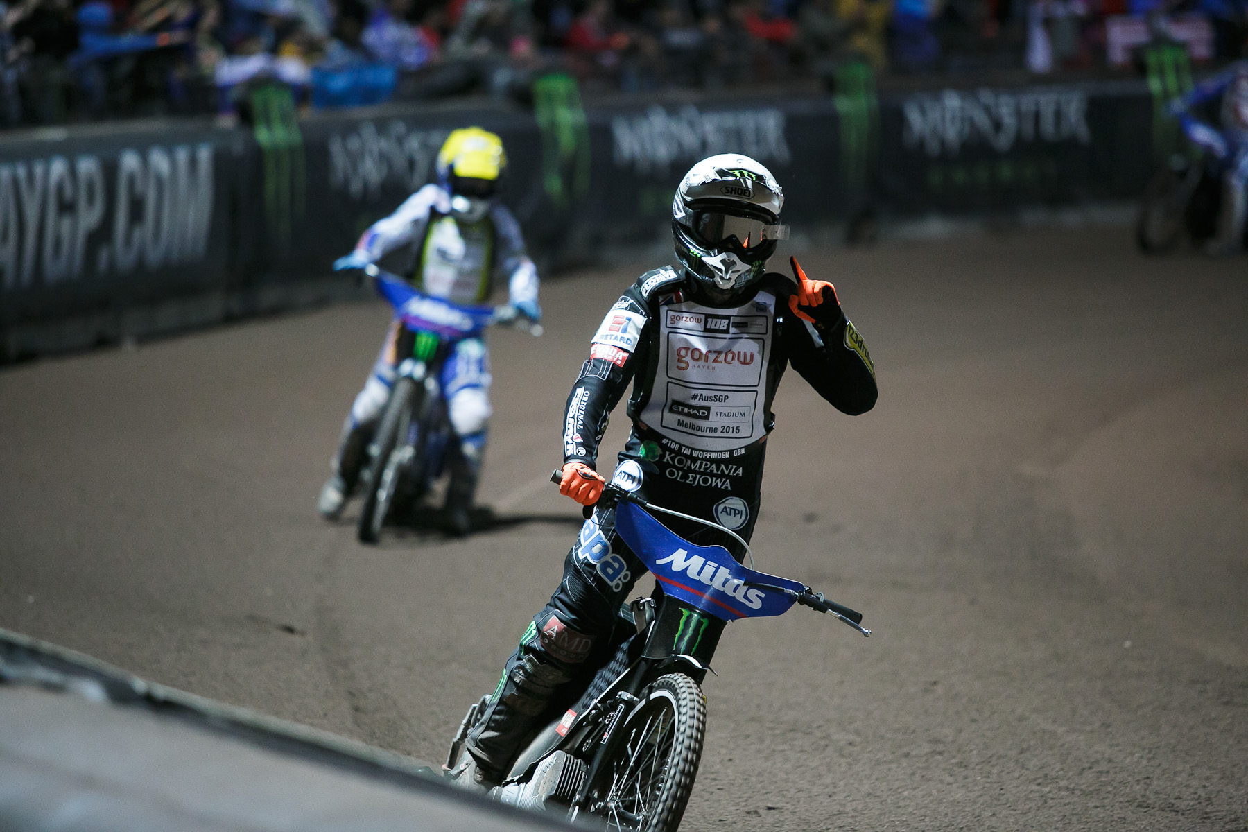 Tai Woffinden of Great Britain gestures to the audience after winning heat 12 at the Mitas Slovenian FIM Speedway Grand Prix at Matija Gubec Stadium in Krsko, Slovenia, Sep. 12, 2015.