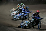 From right: Jason Doyle of Australia, Matej Zagar of Slovenia, Chris Harris of Great Britain and Michael Jepsen Jensen of Denmark compete in the Mitas Slovenian FIM Speedway Grand Prix at Matija Gubec Stadium in Krsko, Slovenia, Sep. 12, 2015.
