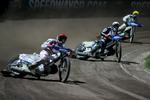 From left: Peter Kildemand of Denmark, Tai Woffinden of Great Britain and Tomas H. Jonasson of Sweden compete in the Mitas Slovenian FIM Speedway Grand Prix at Matija Gubec Stadium in Krsko, Slovenia, Sep. 12, 2015.