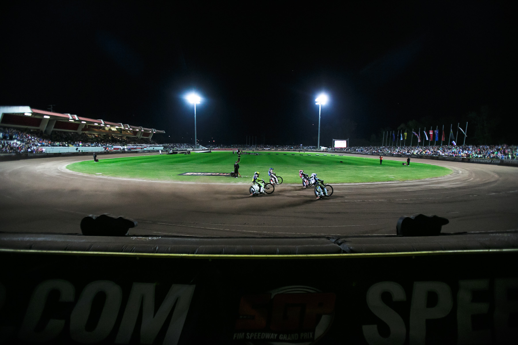 Greg Hancock of USA, Maciej Janowski of Poland, Troy Batchelor of Australia and Chris Holder of Australia compete in the Mitas Slovenian FIM Speedway Grand Prix at Matija Gubec Stadium in Krsko, Slovenia, Sep. 12, 2015.