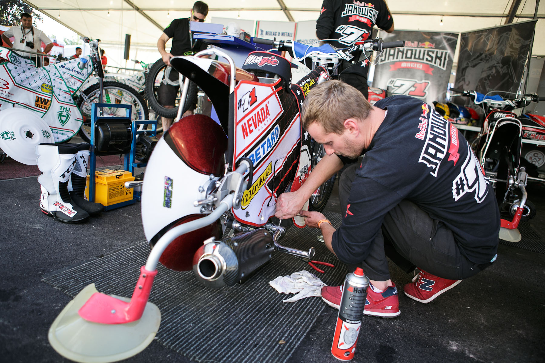 Poland\'s Maciej Janowski\'s technical team prepares the motorcycle before the Mitas Slovenian FIM Speedway Grand Prix at Matija Gubec Stadium in Krsko, Slovenia, Sep. 12, 2015.