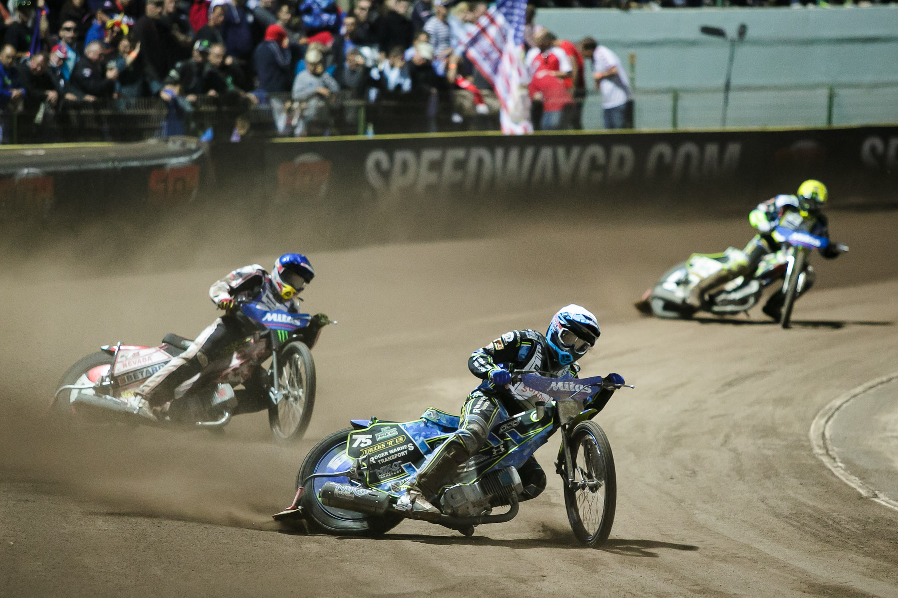 Troy Batchelor of Australia (front), Maciej Janowski of Poland and Chris Holder of Australia compete in the Mitas Slovenian FIM Speedway Grand Prix at Matija Gubec Stadium in Krsko, Slovenia, Sep. 12, 2015.