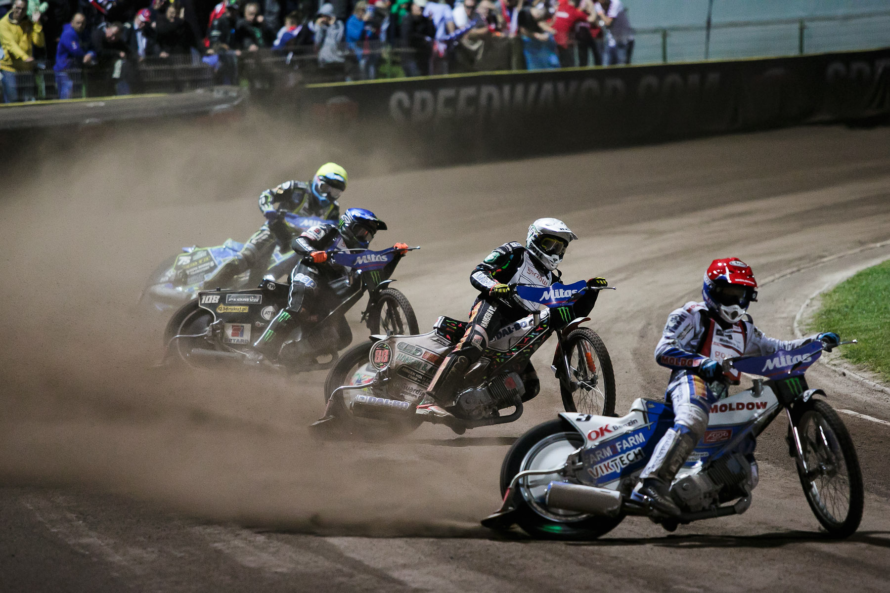 From right: Nicki Pedersen of Denmark, Niels-Kristian Iversen of Denmark, Tai Woffinden of Great Britain and Troy Batchelor of Australia compete in the semi final race of the Mitas Slovenian FIM Speedway Grand Prix at Matija Gubec Stadium in Krsko, Slovenia, Sep. 12, 2015.