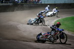 Greg Hancock of USA (front) competes in the final race of the Mitas Slovenian FIM Speedway Grand Prix at Matija Gubec Stadium in Krsko, Slovenia, Sep. 12, 2015.
