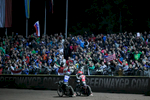 Tai Woffinden of Great Britain and Greg Hancock of USA talk after the final race of the Mitas Slovenian FIM Speedway Grand Prix at Matija Gubec Stadium in Krsko, Slovenia, Sep. 12, 2015.