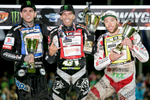 From left: Tai Woffinden of Great Britain, Greg Hancock of USA and Peter Kildemand of Denmark pose with their trophies on the winners podium of the Mitas Slovenian FIM Speedway Grand Prix at Matija Gubec Stadium in Krsko, Slovenia, Sep. 12, 2015.