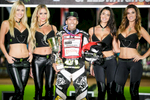 Greg Hancock of USA  poses for a photo after winning the Mitas Slovenian FIM Speedway Grand Prix at Matija Gubec Stadium in Krsko, Slovenia, Sep. 12, 2015.