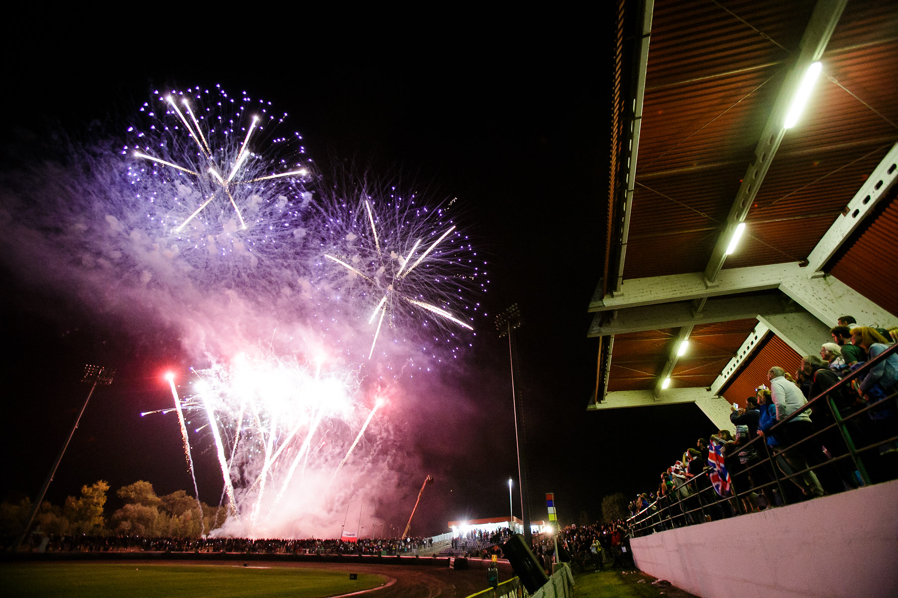 Fiireworks mark the end of the competition at the Mitas Slovenian FIM Speedway Grand Prix at Matija Gubec Stadium in Krsko, Slovenia, Sep. 12, 2015.