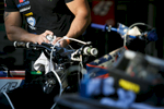 Technician from Tai Woffinden\'s team from Great Britain prepares a motorcycle before the Mitas Slovenian FIM Speedway Grand Prix at Matija Gubec Stadium in Krsko, Slovenia, Sep. 12, 2015.