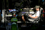 Chrish Holder of Australia rests in the pit before the Mitas Slovenian FIM Speedway Grand Prix at Matija Gubec Stadium in Krsko, Slovenia, Sep. 12, 2015.