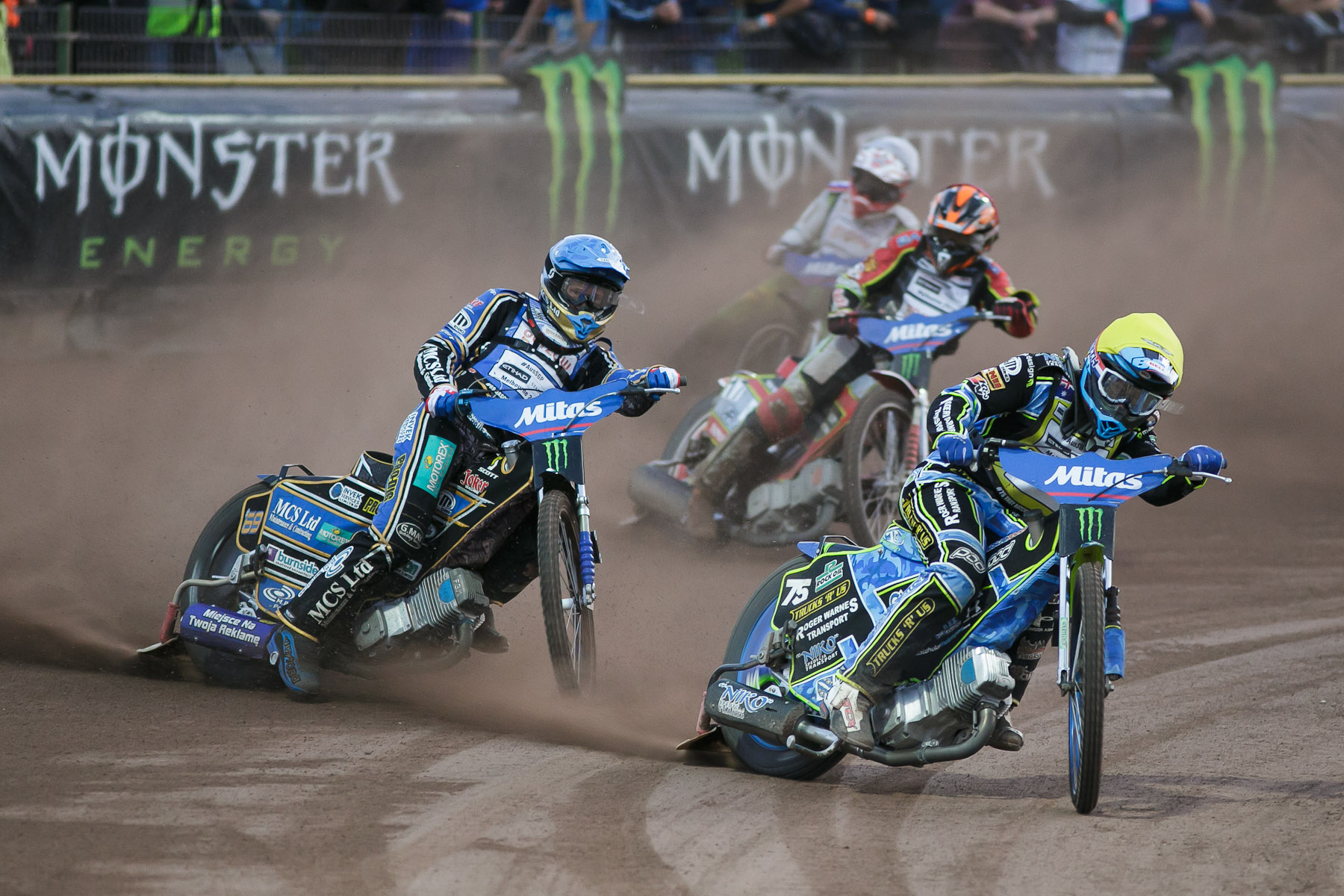 Troy Batchelor of Australia, Jason Doyle of Australia, Andreas Jonsson of Sweden and Aleksander Conda of Slovenia compete in the Mitas Slovenian FIM Speedway Grand Prix at Matija Gubec Stadium in Krsko, Slovenia, Sep. 12, 2015.