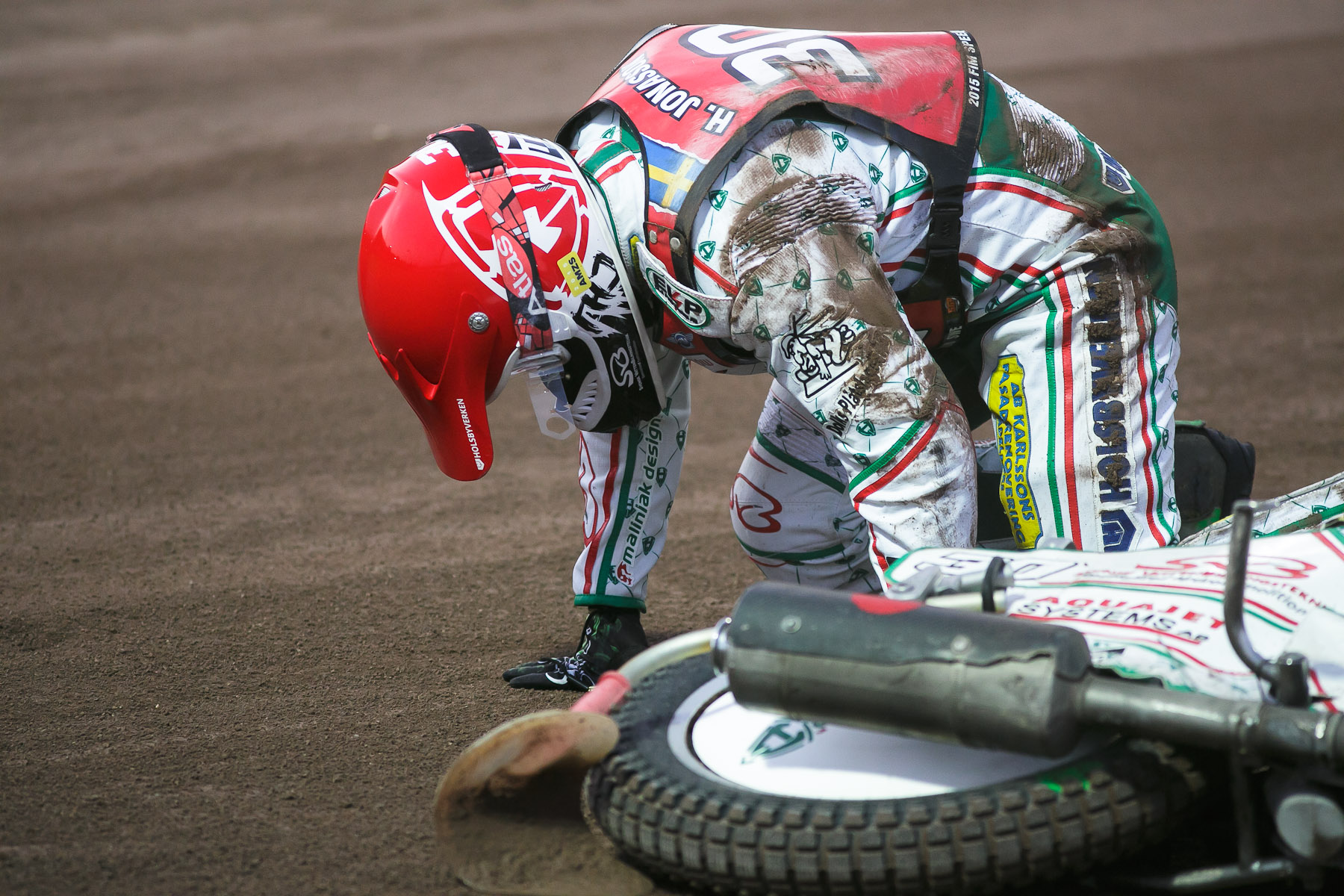 Tomas H. Jonasson of Sweden gets up after crashing during the Mitas Slovenian FIM Speedway Grand Prix at Matija Gubec Stadium in Krsko, Slovenia, Sep. 12, 2015.