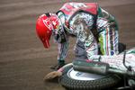 Tomas H. Jonasson of Sweden gets up after crashing during the Mitas Slovenian FIM Speedway Grand Prix at Matija Gubec Stadium in Krsko, Slovenia, Sep. 12, 2015.