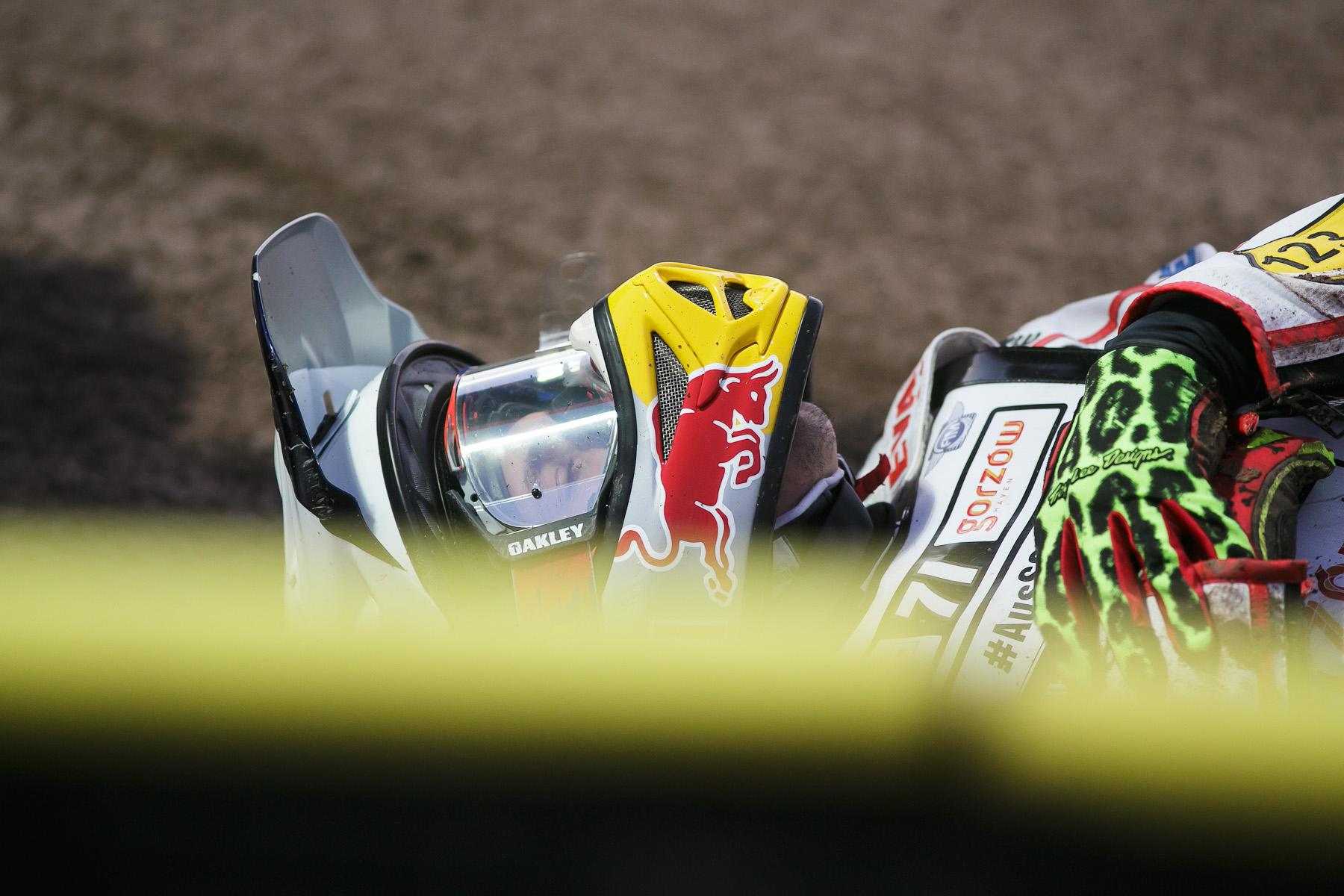 Maciej Janowski of Poland lies on the ground after crashing during the Mitas Slovenian FIM Speedway Grand Prix at Matija Gubec Stadium in Krsko, Slovenia, Sep. 12, 2015.