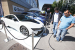 Electric cars are on display at the 48th International Trade Fair in Celje, Slovenia, Sep. 8, 2015.