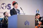 The Ambassador of the People's Republic of China His Excellency Ye Hao speaks at the opening of the 48th International Trade Fair in Celje, Slovenia, Sep. 8, 2015.
