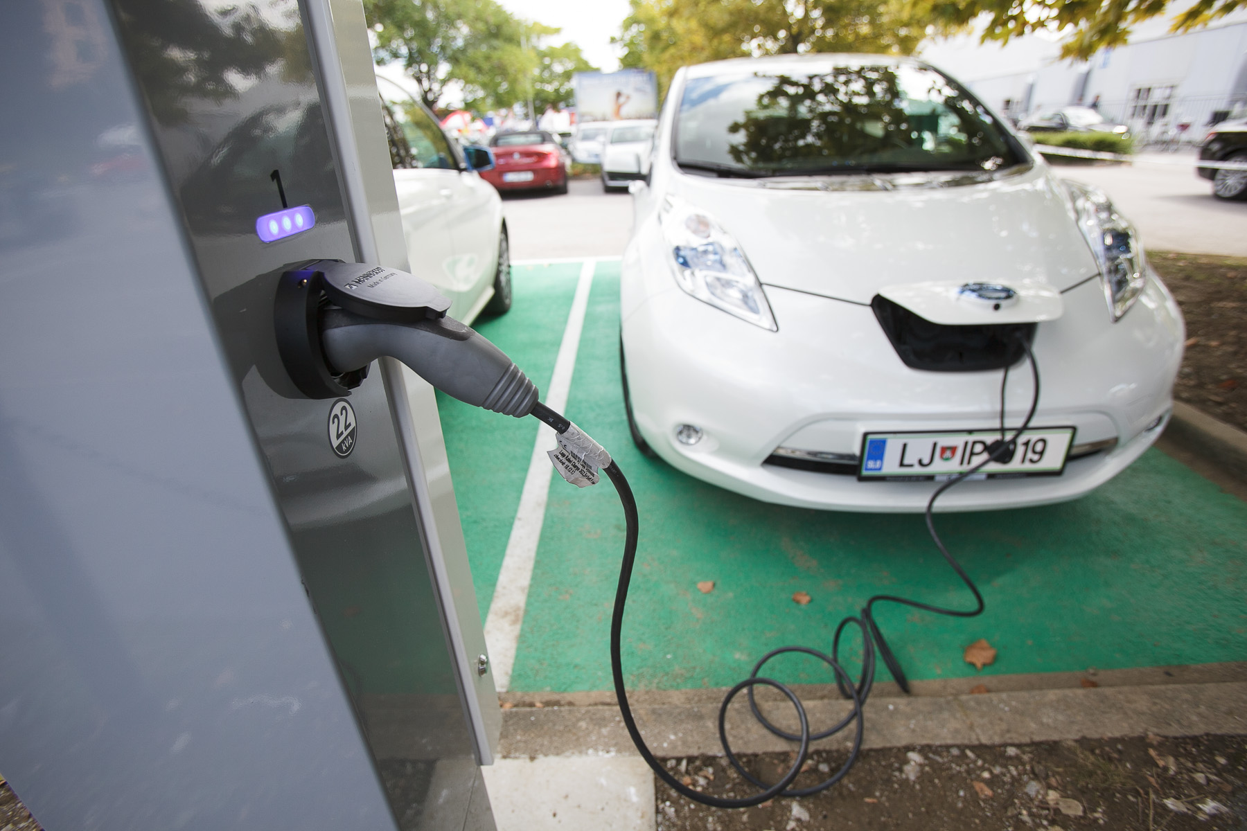 A fast electric car charger has been officially opened at the 48th International Trade Fair in Celje, Slovenia, Sep. 8, 2015.