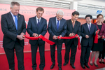 Slovenian Prime minister Miro Cerar (second from left), National Council president Mitja Bervar (4th from left) and the Ambassador of the People's Republic of China His Excellency Ye Hao cut the ribbon at the official opening of the hall, entirely dedicated to China brands at the 48th International Trade Fair in Celje, Slovenia, Sep. 8, 2015.