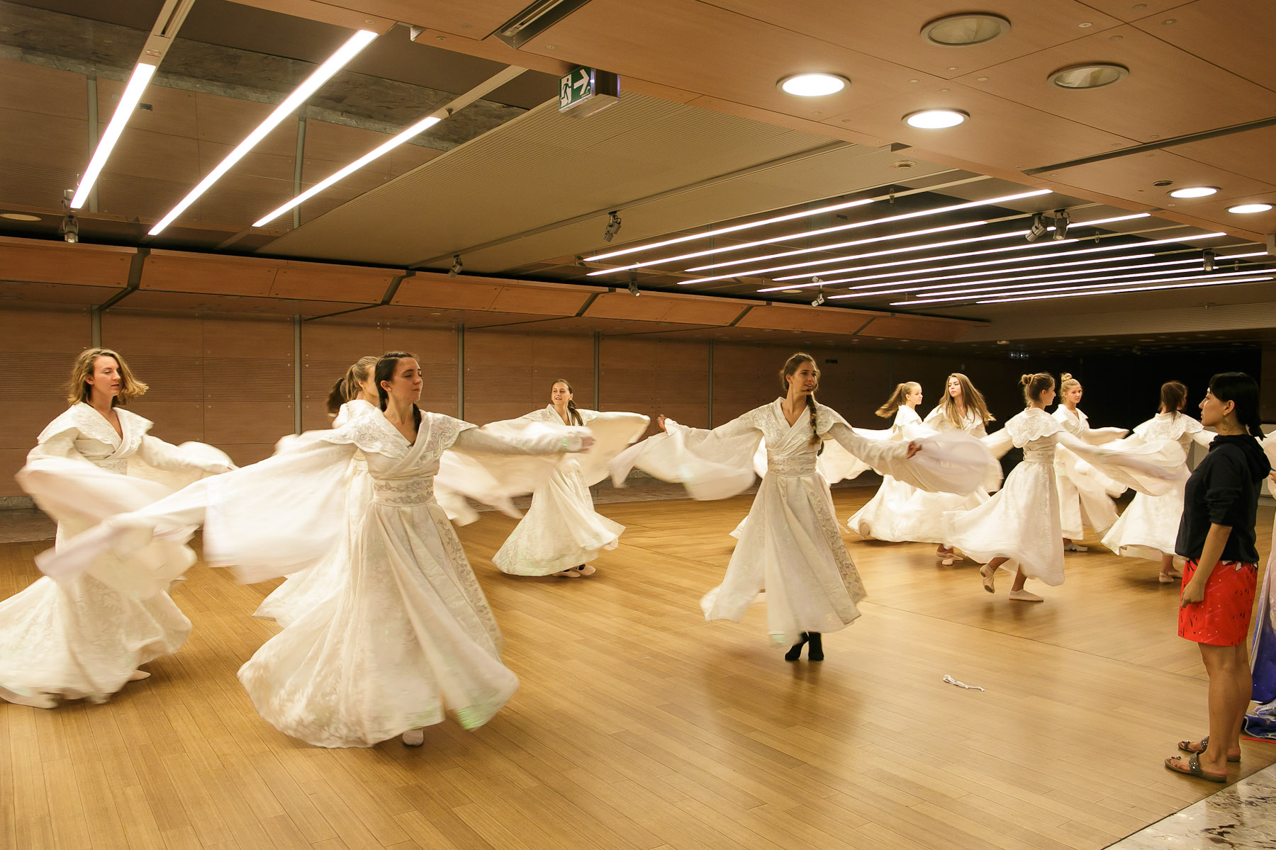Dancers of Dance School Bolero from Ljubljana practice under the guidance of Wang Quan ( far right) before their performance in China National Opera House production of Giacomo Puccini\'s Turandot in Cankarjev dom Cultural & Congress center in Ljubljana, Slovenia, Aug. 31, 2015.