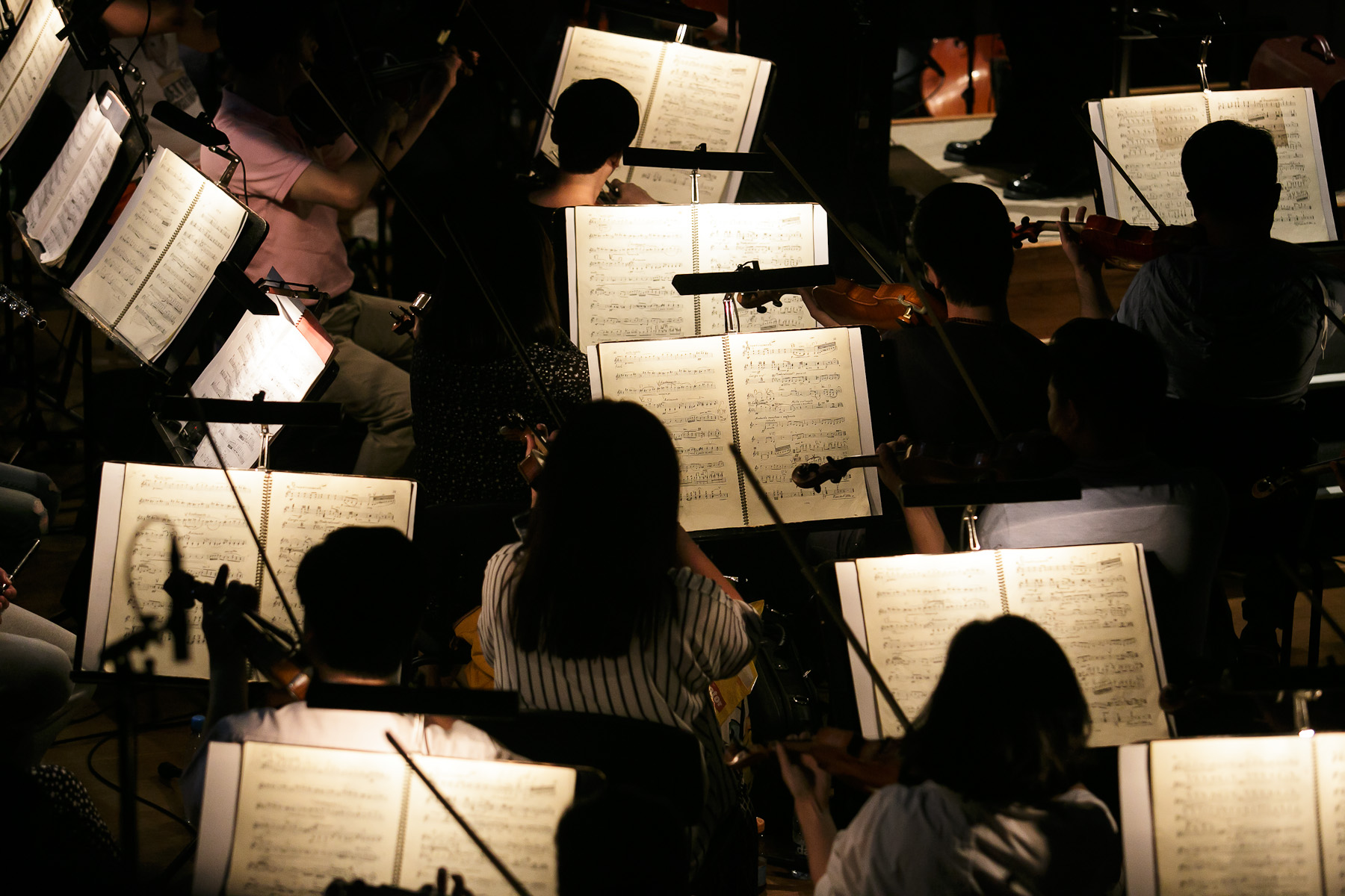 The orchestra rehearses during the second rehearsal of China National Opera House production of Giacomo Puccini\'s Turandot in Cankarjev dom Cultural & Congress center in Ljubljana, Slovenia, Aug. 31, 2015.