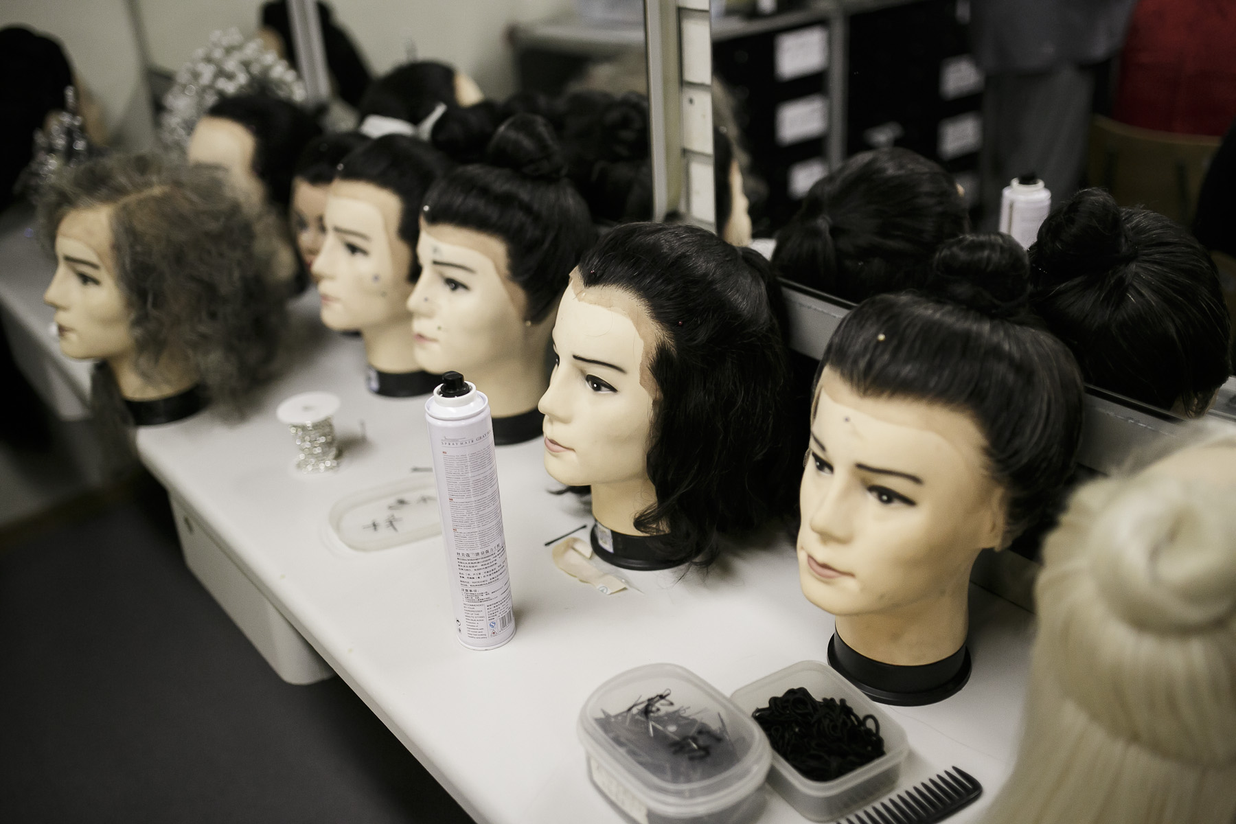 Wigs are seen in the make up room before China National Opera House production of Giacomo Puccini\'s Turandot in Cankarjev dom Cultural & Congress center in Ljubljana, Slovenia, Sep. 1, 2015.