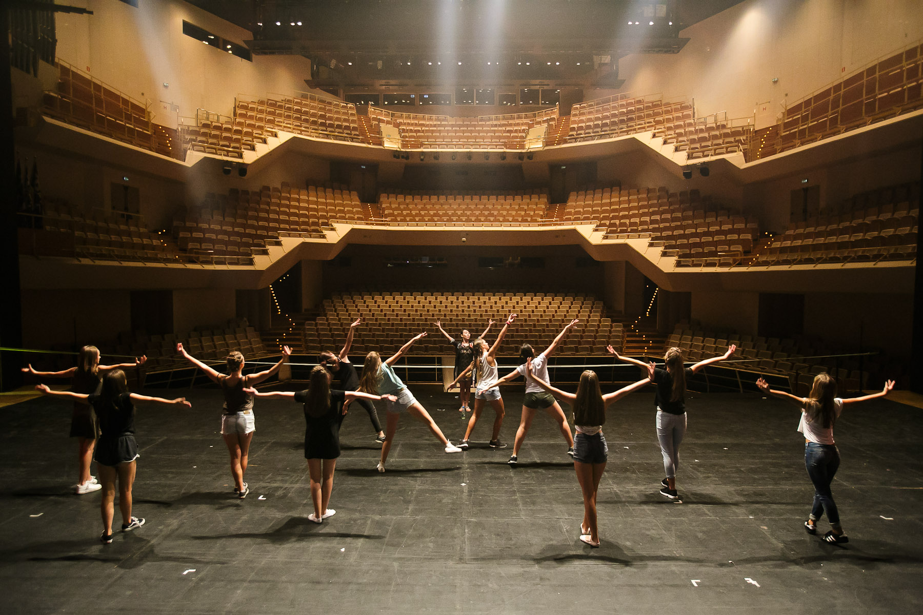 Dancers of Dance School Bolero from Ljubljana practice under the guidance of Wang Quan (center, back) before their performance in China National Opera House production of Giacomo Puccini\'s Turandot in Cankarjev dom Cultural & Congress center in Ljubljana, Slovenia, Sep. 1, 2015.