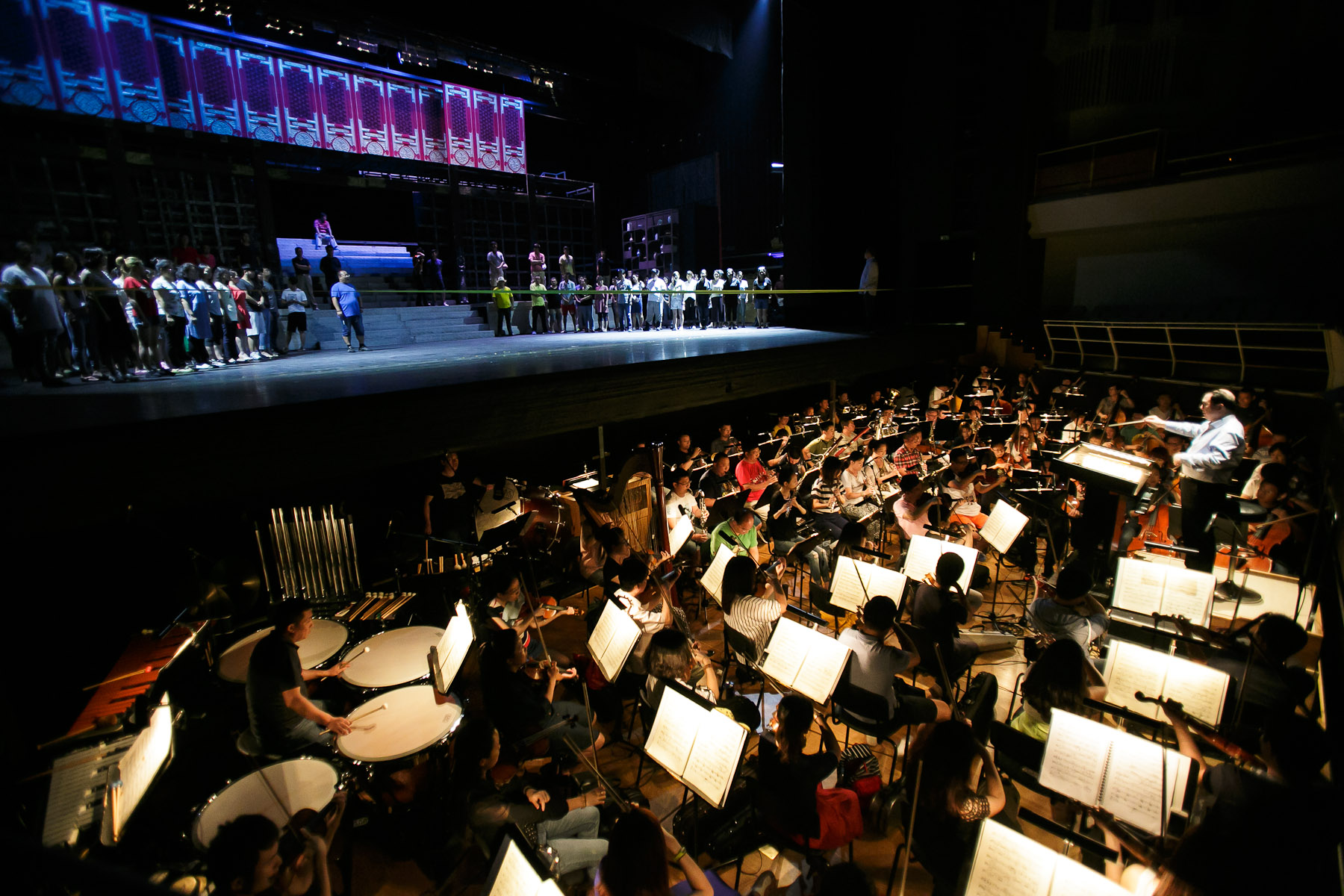 The cast and orchestra of China National Opera House during their first rehearsal of Giacomo Puccini\'s Turandot in Cankarjev dom Cultural & Congress center in Ljubljana, Slovenia, Aug. 31, 2015.