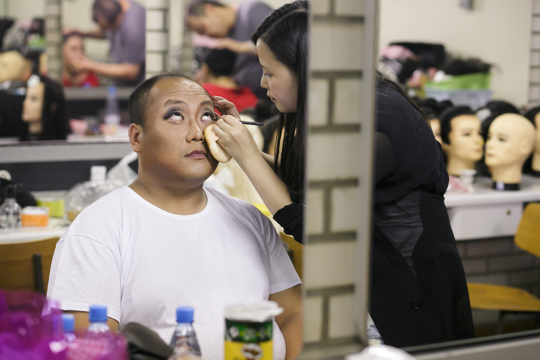 Li Shuang in make-up before his performance in China National Opera House production of Giacomo Puccini\'s Turandot in Cankarjev dom Cultural & Congress center in Ljubljana, Slovenia, Sep. 1, 2015.