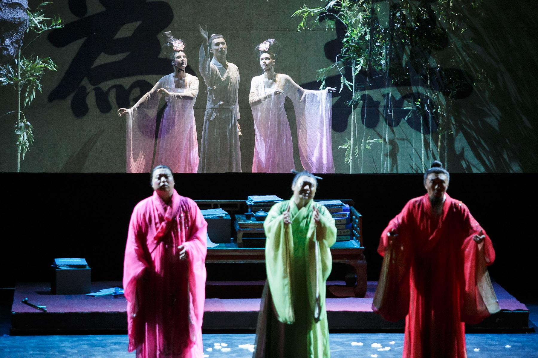 A scene from China National Opera House production of Turandot in Cankarjev dom Cultural & Congress center in Ljubljana, Slovenia, Sep. 1, 2015.