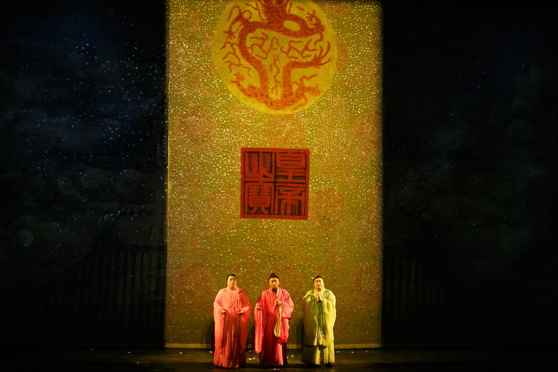 A scene from China National Opera House production of Turandot in Cankarjev dom Cultural & Congress center in Ljubljana, Slovenia, Sep. 1, 2015.