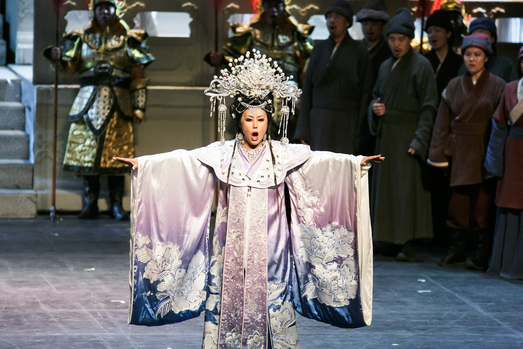 Wang Wei performs as Turandot in China National Opera House production of Giacomo Puccini\'s opera Turandot in Cankarjev dom Cultural & Congress center in Ljubljana, Slovenia, Sep. 1, 2015.