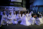 Dancers of Dance School Bolero from Ljubljana rest backstage during the second rehearsal of China National Opera House production of Giacomo Puccini\'s Turandot in Cankarjev dom Cultural & Congress center in Ljubljana, Slovenia, Aug. 31, 2015.