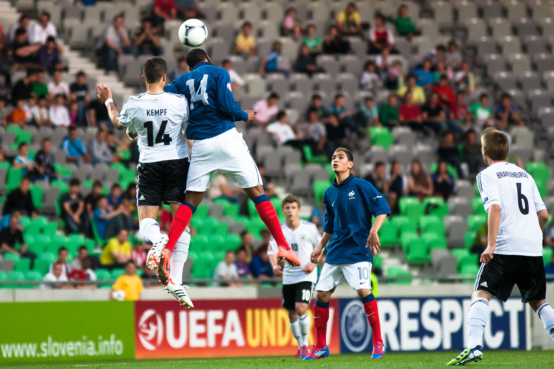 Marc Oliver Kempf of Germany is challanged by Anthony Martial of France during the UEFA U-17 European Championship final tournament group match between Germany and France at the SRC Stozice Stadium in Ljubljana, Slovenia, May 10, 2012.