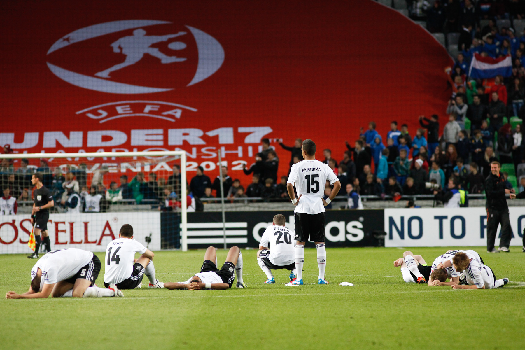 Team Germany after loosing the the UEFA U-17 European Championship final match against the Netherlands at the SRC Stozice Stadium in Ljubljana, Slovenia, May 16, 2012.