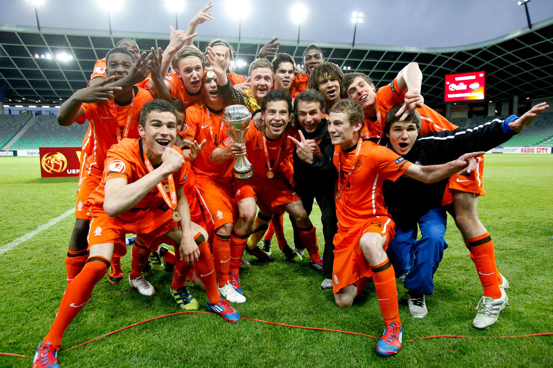 Team Netherlands celebrates winning the UEFA U-17 European Championship finals at the SRC Stozice Stadium in Ljubljana, Slovenia, May 16, 2012.