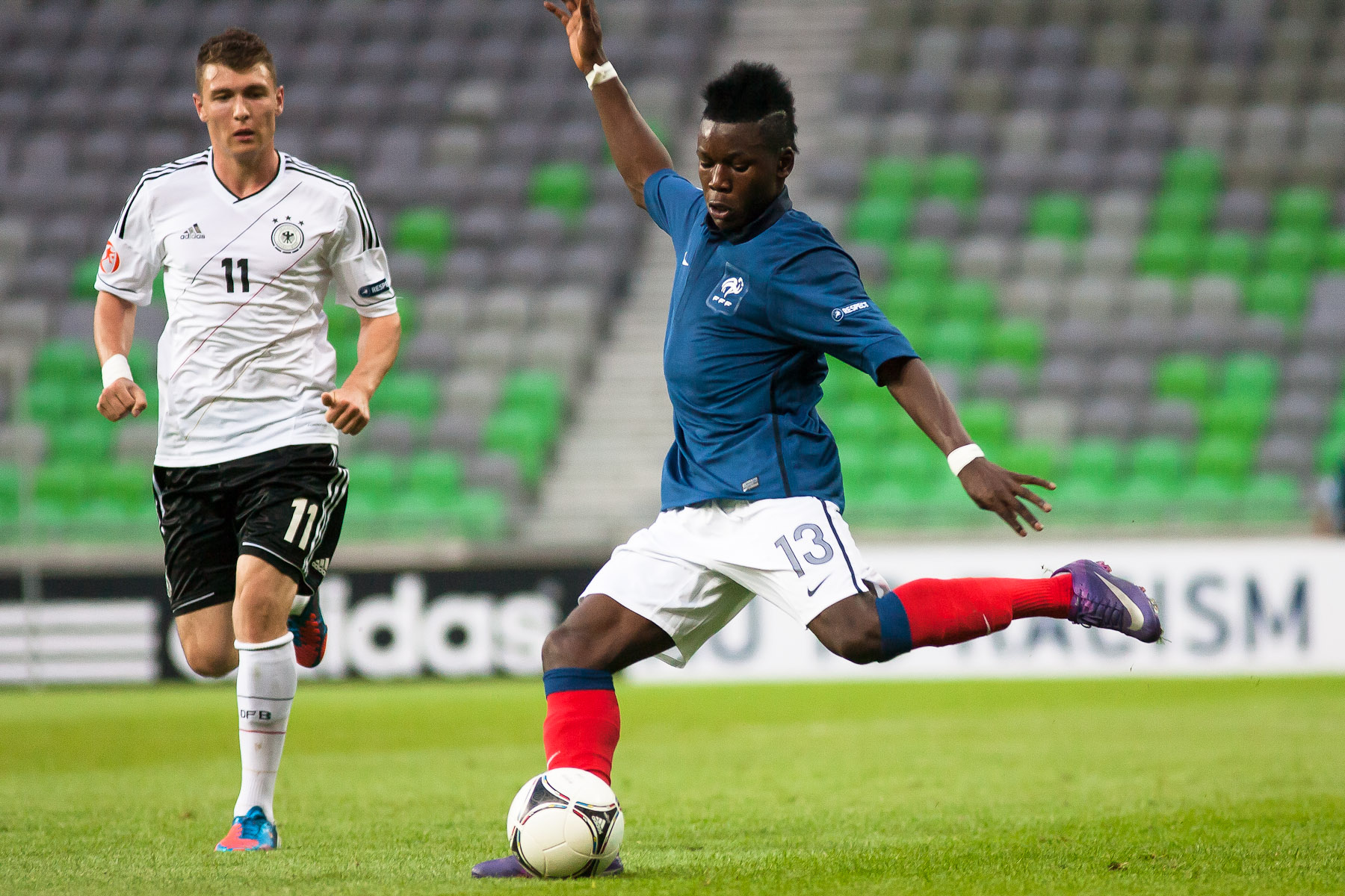Louis Nganioni of France during the UEFA U-17 European Championship final tournament group match between Germany and France at the SRC Stozice Stadium in Ljubljana, Slovenia, May 10, 2012.