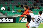 Nathan Ake of Netherlands strikes the ball during the UEFA U-17 European Championship semi-final match between Netherlands and Georgia at the SRC Stozice Stadium in Ljubljana, Slovenia, May 13, 2012.