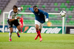 Anthony Martial of France is challanged by Kevin Akpoguma of Germany during the UEFA U-17 European Championship final tournament group match between Germany and France at the SRC Stozice Stadium in Ljubljana, Slovenia, May 10, 2012.