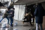 Benjamin Krnetić, Timon Šturbej in Jure Henigman med snemanjem prizora za film Zbudi me.-------------------------------------------------Actors Benjamin Krnetić, Timon Šturbej and Jure Henigman filming a scene for Wake Me.