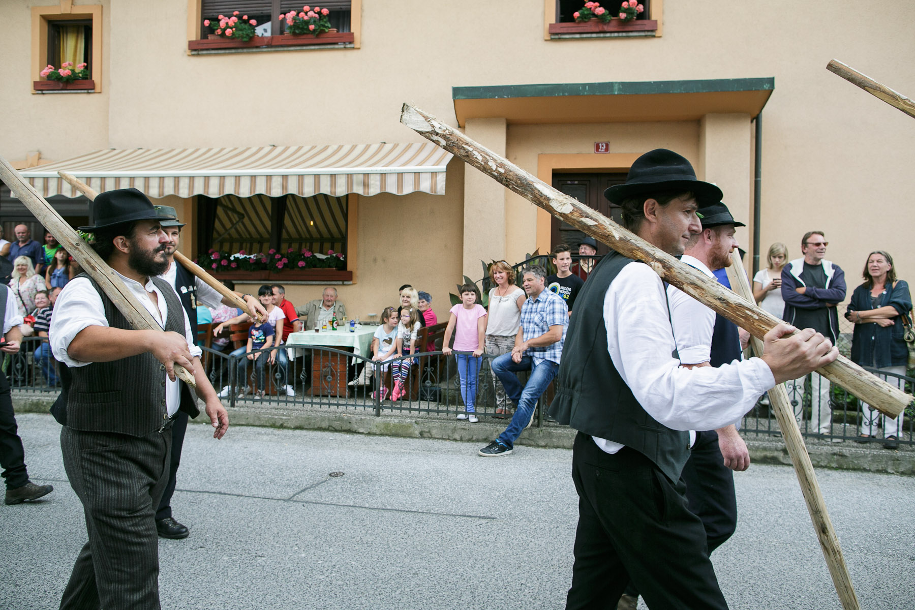 Raftsmen march in a procession during the 55th Raftsmen Ball in Ljubno ob Savinji, Slovenia.