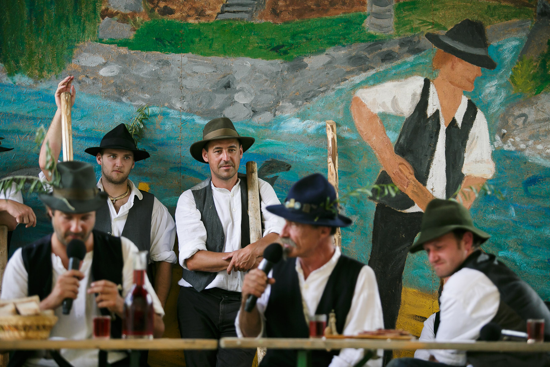 Raftsmen participate in a baptism of a new raftman during the 55th Raftsmen Ball in Ljubno ob Savinji, Slovenia.