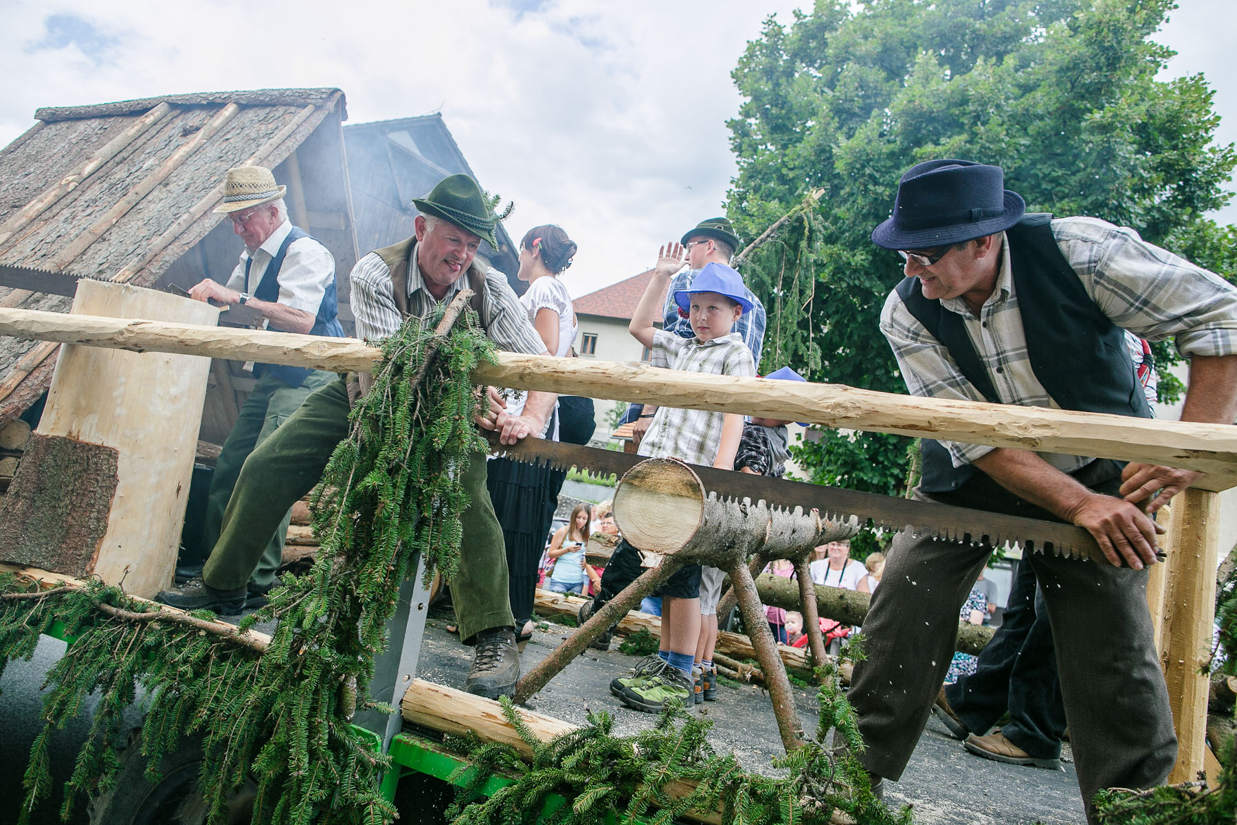 Old timber trade traditions and techinques are displayed in an ethnographic procession during the 55th Raftsmen Ball in Ljubno ob Savinji, Slovenia.
