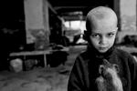 A Petrovski, quartier à l\'ouest de Donetsk,  quotidiennement bombardé par l\'armée ukrainienne, entre 200 et 500 personnes vivent depuis juillet 2014 dans les caves de la maison de la culture.Pacha, 5 ans, a demandé à sa mère de lui raser les cheveux \{quote}pour être comme un militaire\{quote}. Dans les bras, son cochon d\'Inde.