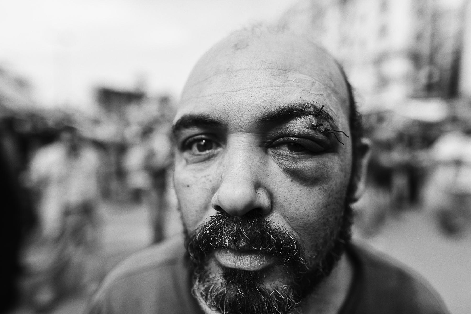 Egypte, février 2011. Place Tahir le Caire, après la bataile.Egypte, February 2011. Cairo's Tahir square, after the fight.