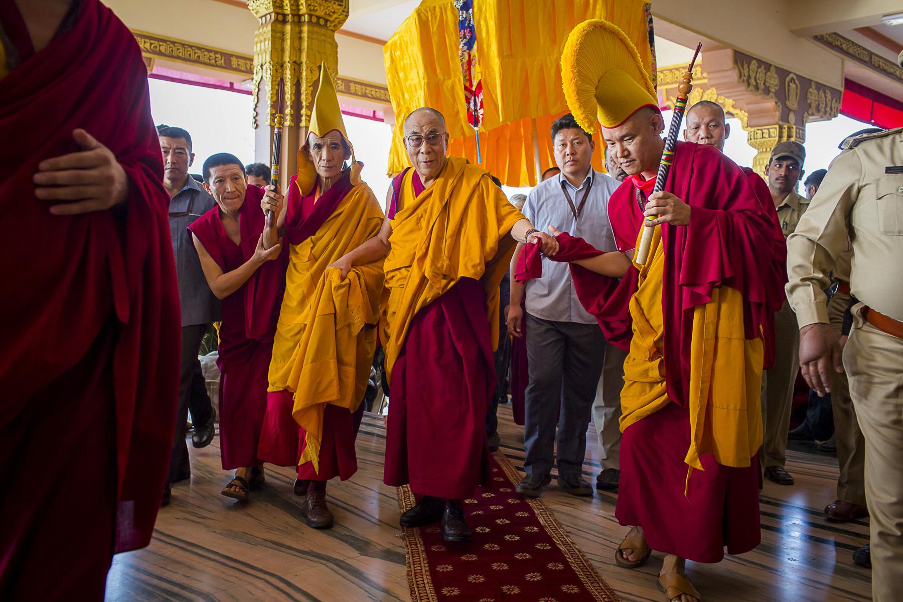 Inde, décembre 2012. Sa Sainteté le Dalaï Lama dans l'enclave tibétaine de Mungog dans l'état du Karnakata.India, December 2012. His Holiness de Dalaï Lama in the tibetan settlment of Mungog in the state of Karnakata.