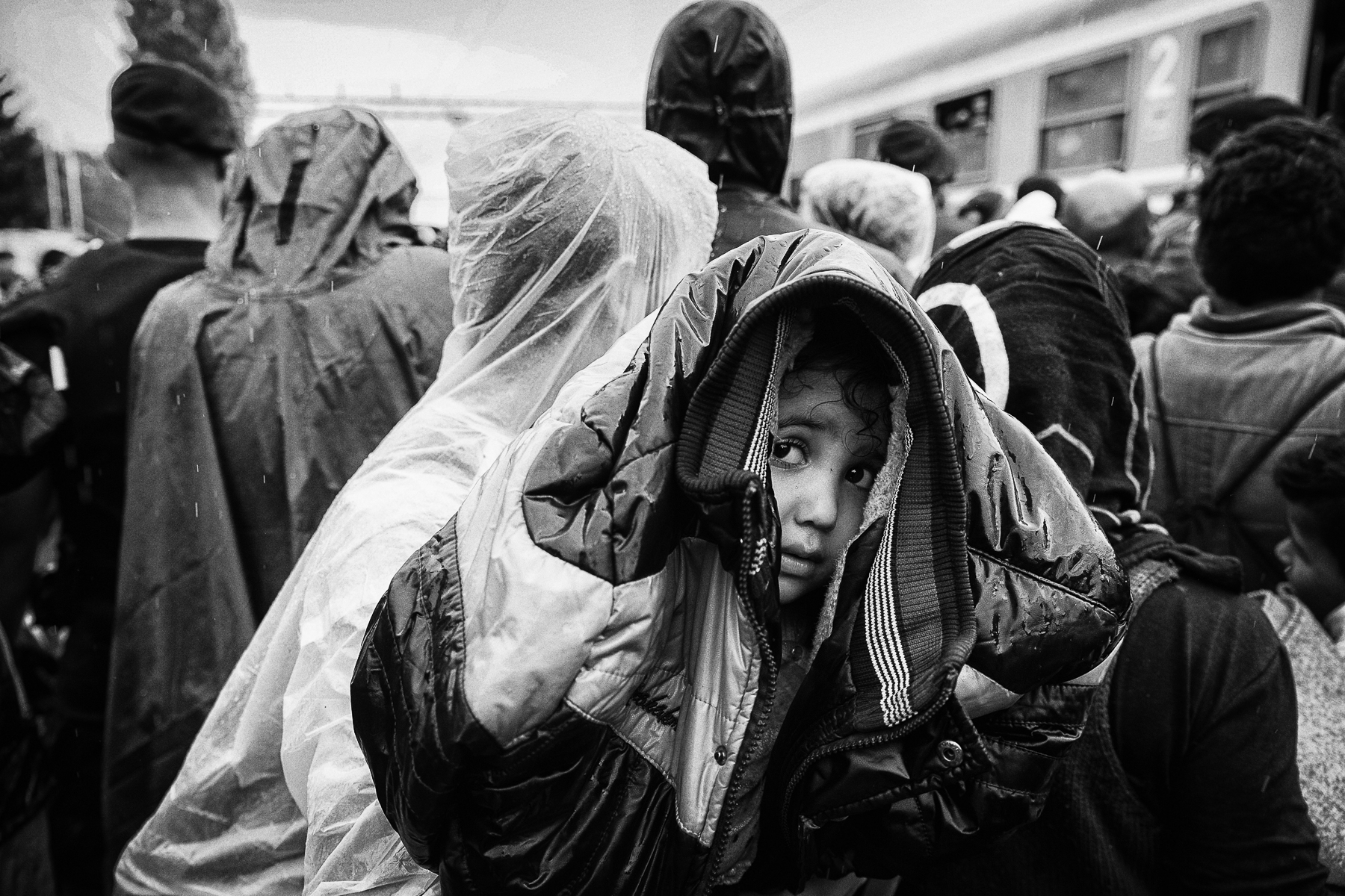 Croatie, septembre 2015. Des réfugiés attendent un train dans la gare de Tovarnik. Des enfants sous la pluie.