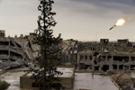 Syrie, novembre 2015. Bombardement de l'armée syrienne sur les positions de Al Nosra dans le quartier de Jobar à Damas.Syria, November 2015. Syrian army missile strick Al Nosra position in Jobar neighbourhood in Damascus.